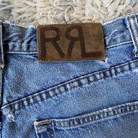 RRL Double RL 32x36 Distressed Light Wash Jeans Ralph Lauren Heavy Blue USA