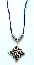 Halskette Keltenknoten mit schwarzem Lederband Keltenkreuz Runen  necklace