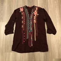 Johnny Was Womens Large Floral Embroidered Blouse Tunic Top Maroon Cupra Rayon