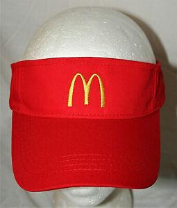 "McDonalds Fast Food Restaurant Yellow ""M"" Red Visor Cap Hat New OSFM"