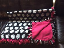 "Hot Pink Hand tied No Sew knot Volleyball Sport Fleece Blanket 71""x51"" 2layered"