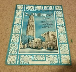 1936 Whiffenpoof Song Yale University Bulldogs Anthem Sheet Music Rudy Vallee