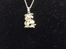 Sterling Silver Diamond Accented Polished Owl Pendant 18in Necklace New