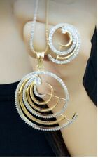 Indian Pakistan Bollywood American Diamond Pandent With Earing White Party Wear