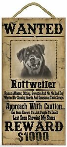 """Wanted Western Poster Style Rottweiler Funny Dog Pet Sign Plaque 5""""x10"""""""