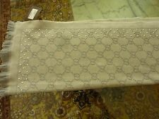 GUCCI Exclusive Studded 'GG' Jacquard Scarf Gray Wool w/ Fringe Detail NEW Tags
