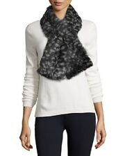 Jocelyn Spotted Rabbit Fur Scarf, Mint/Gray