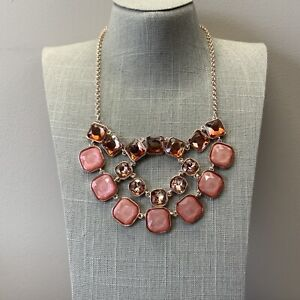 Rose gold and pink rhinestone gem statement necklace by ballet