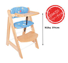Kinderhochstuhl mit Tisch & Bezug Blue Teddy Pappelholz Essbrett & Sitzpolster