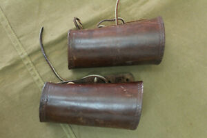 Pair Vintage HUNTER COMPANY Leather Wrist Guards Cuffs Armor Protector #52 1808
