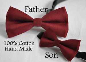 Father Son Match 100% Cotton Handmade ROSEWOOD DARK Red Bow Tie Bowtie Wedding