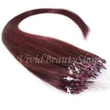 50 Micro Loop Ring Beads I Tip Indian Remy Human Hair Extensions Dark Red 0.8g