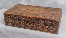 Vintage Carved Wood Jewelry Trinket Box jds