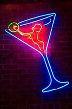 "New Martini Glass Live Nude Girl Bar Pub Wall Decor Neon Light Sign 24""x20"""