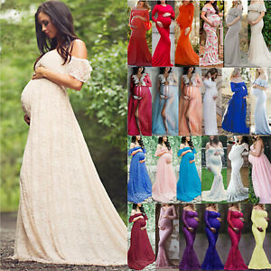 Pregnant Women Maternity Lace Maxi Dress Lady Gown Photography Photo Shoot Props