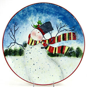 """Certified International ENCHANTED SNOWMAN 11"""" Dinner Plate Dad Father Winget"""