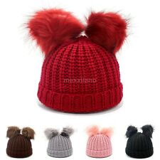 Womens Double Fur Pom Beanie Hat Wool Knitted Bobble Winter Warm Ski Caps