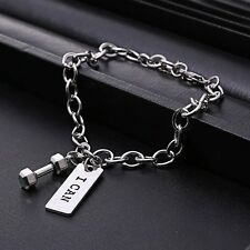 Barbell Dumbbell Gym Bodybuilding Fitness Muscle Crossfit Bangle Bracelet Chain