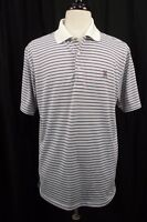 Peter Millar Mens Golf Polo Shirt L Large Aqua Burgundy Striped Short Sleeve S/S