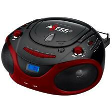 Axess Red Portable Boombox Mp3 Cd Player , Am/Fm Stereo, Usb Sd Mmc Aux Inputs