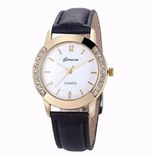 Luxury Crystals Gold Stainless Black Leather Women Quartz Watch Dress Fashion