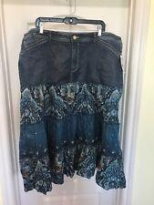 2 - Faded Glory Stretch Jean Skirts - Camo & Paisley