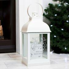 Personalised Silver Reindeer White Lantern - Battery Powered - Xmas Decoration