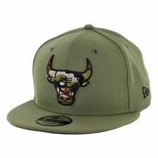 """New Era 9Fifty Chicago Bulls """"Camo Trim"""" Snapback Hat (Olive Green) Men's Cap"""