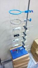 """13 pc Lab Stand 9"""" x 6"""" with 5 Extension Clamp 5 Boss Head 2 Retort Ring"""