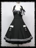 dress190 BLACK HALTER 50's PINUP ROCKABILLY VTG COCKTAIL PROM PARTY DRESS 8-24