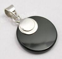 "925 Pure Silver Genuine BLACK ONYX FLAT Pendant 1.4"" SEMI PRECIOUS GEMSTONE"