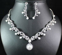 PEARL CLEAR AUSTRIAN RHINESTONE CRYSTAL NECKLACE EARRINGS SET SILVER B01022