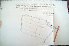 1850 MAPPA CATASTALE DI CAMPIANO NEL RAVENNATE DISEGNATA A MANO A COLORI
