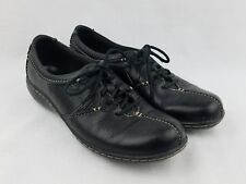 Clarks Bendables Womens Casual Shoes SIZE 6.5 M Lace-Up Black Pebbled Leather
