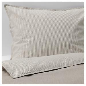 NEW BLAVINDA King Duvet Quilt Cover with Two Pillowcases Beige Striped Bedlinen