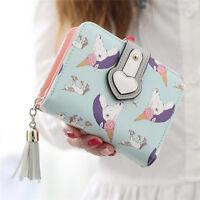 Fashion Women Tassel Unicorn Wallet Girls Clutch Short Purse Card Holder Bag US
