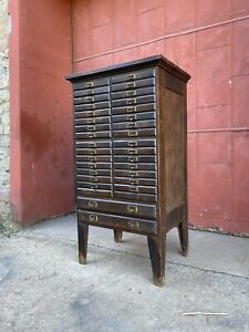 1930s Oak Optometrist Apothecary Industrial Cabinet Ledger Multi Drawer Antique