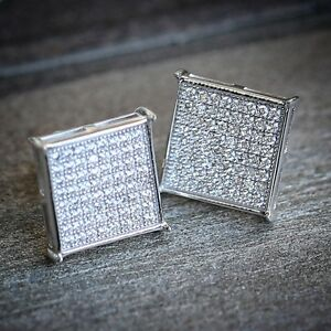 White Gold Men's Hip Hop Square Sterling Silver Stud Screw Back Iced Cz Earrings