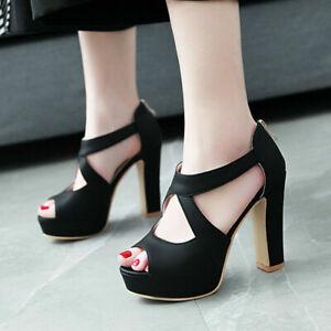 Women's Platform Sandals Zip Gladiator Peep Toe Block Heel Party Wedding Shoes