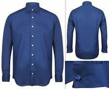 Mens Shirt Invictus Slim Fitted Athletic Body Fit Easycare Cotton Double Cuff M Navy