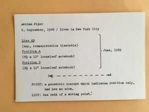 ADRIAN PIPER card 1969 Lucy Lippard 557,087 exhib seattle vancouver
