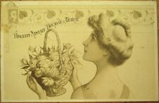 Art Nouveau 1903 French Postcard - Beaituful Woman & Biscuit Nantais Advertising