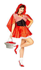 LADIES RED RIDING HOOD HALLOWEEN COSTUME OUTFIT FANCY DRESS & CAPE NEW 12-14