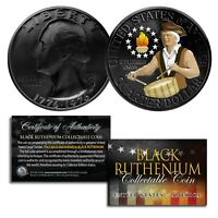 DUAL BLACK RUTHENIUM & COLORIZED 1976 Washington Bicentennial Quarter U.S. Coin