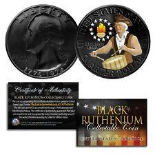 Dual Black Ruthenium & Colorized 1976 Washington Bicentennial Quarter U.S. Coin