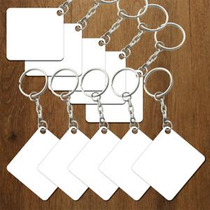 Sublimation Metal Keyrings x 10 Square 5 cm x 5 cm Glossy Print Press blank sub