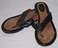 B.O.C. Born Concept BOC Black Leather Thong Flip Flops Womens Sandals 9 40.5