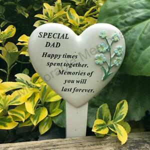 Dad - Forget Me Not Memorial Flower Heart Stake Plaque Graveside Remembrance