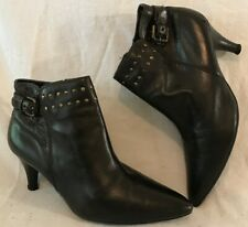 Ecco Black Ankle Leather Lovely Boots Size 38 (219vv)