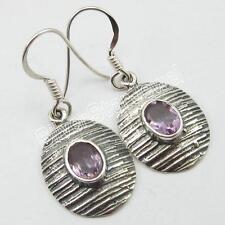 "Earrings 1.3"" ! February Birthstone 925 Solid Sterling Silver Amethyst Dangle"